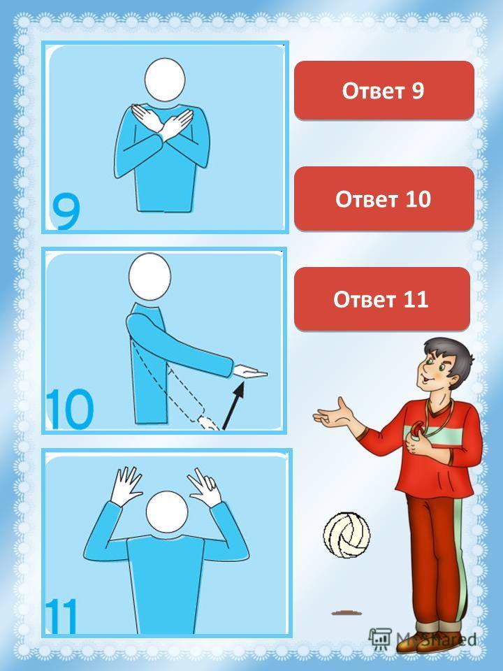 Конец партии (или матча) Ответ 9 Мяч не подброшен при подаче Ответ 10 Задержка при подаче 8 секунд Ответ 11