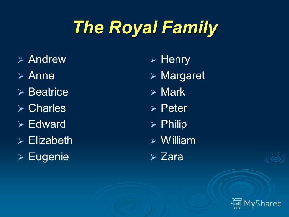 The Royal Family Andrew Anne Beatrice Charles Edward Elizabeth Eugenie Henry Margaret Mark Peter Philip William Zara
