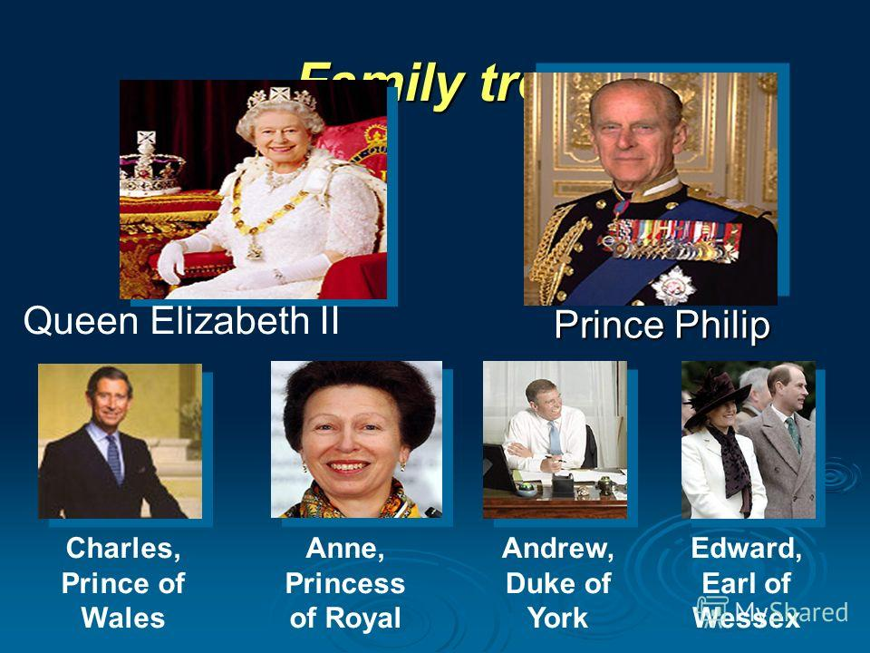 Family tree Queen Elizabeth II Charles, Prince of Wales Anne, Princess of Royal Andrew, Duke of York Edward, Earl of Wessex Prince Philip