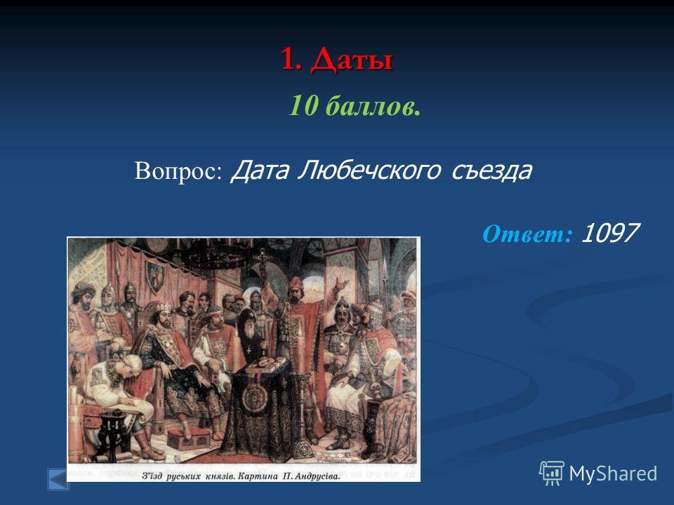 1. Даты 10 баллов. Вопрос: Дата Любечского съезда Ответ: 1097