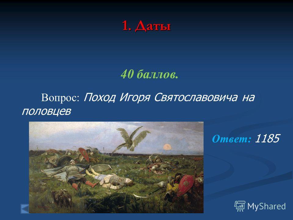 1. Даты 40 баллов. Вопрос: Поход Игоря Святославовича на половцев Ответ: 1185