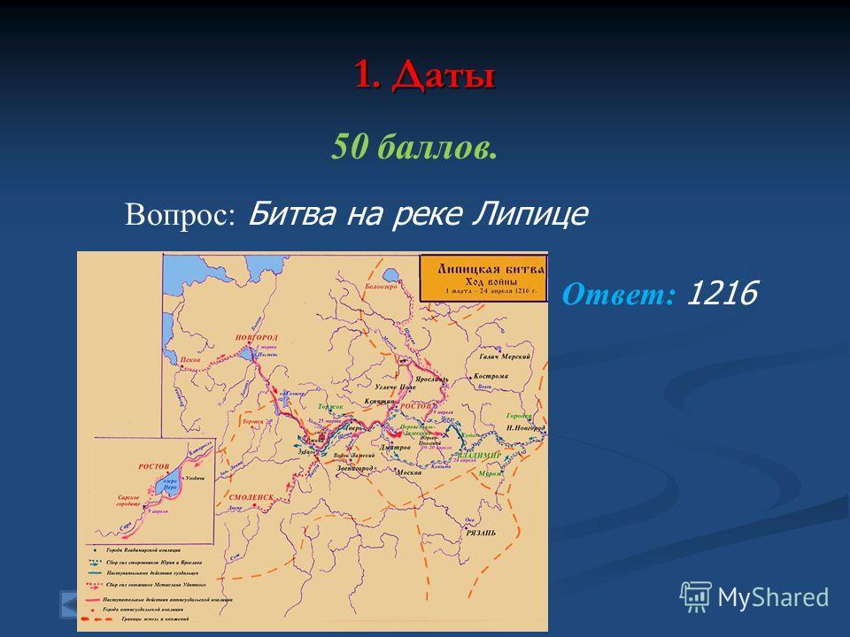 1. Даты 50 баллов. Вопрос: Битва на реке Липице Ответ: 1216