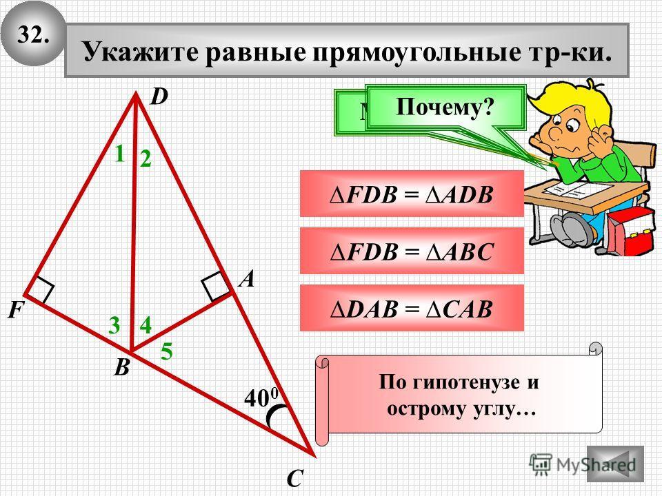 32.32. 40 0 А В С Укажите равные прямоугольные треки. 1 FDB = ADB Подумай!Молодец! 2 3 DAB = CAB FDB = ABC D F 4 5 Почему? По гипотенузе и острому углу…
