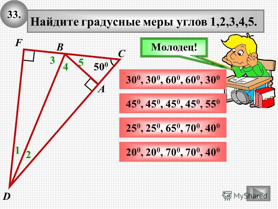 33.33. 50 0 А В С Найдите градусные меры углов 1,2,3,4,5. 1 25 0, 25 0, 65 0, 70 0, 40 0 20, 20, 70 0, 70 0, 40 Подумай!Молодец! 2 3 30 0, 30 0, 60 0, 60, 30 0 45 0, 45 0, 45 0, 45 0, 55 0 D F 4 5