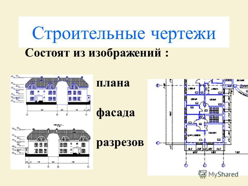 Строительные чертежи Состоят из изображений : плана фасада разрезов