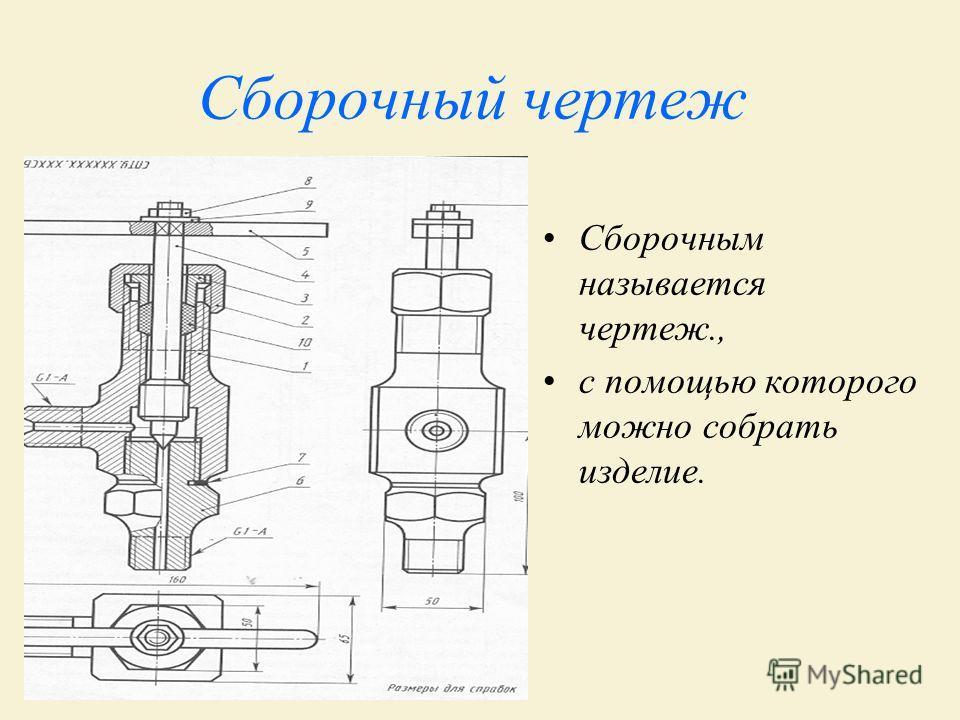 Сборочный чертеж Сборочным называется чертеж., с помощью которого можно собрать изделие.
