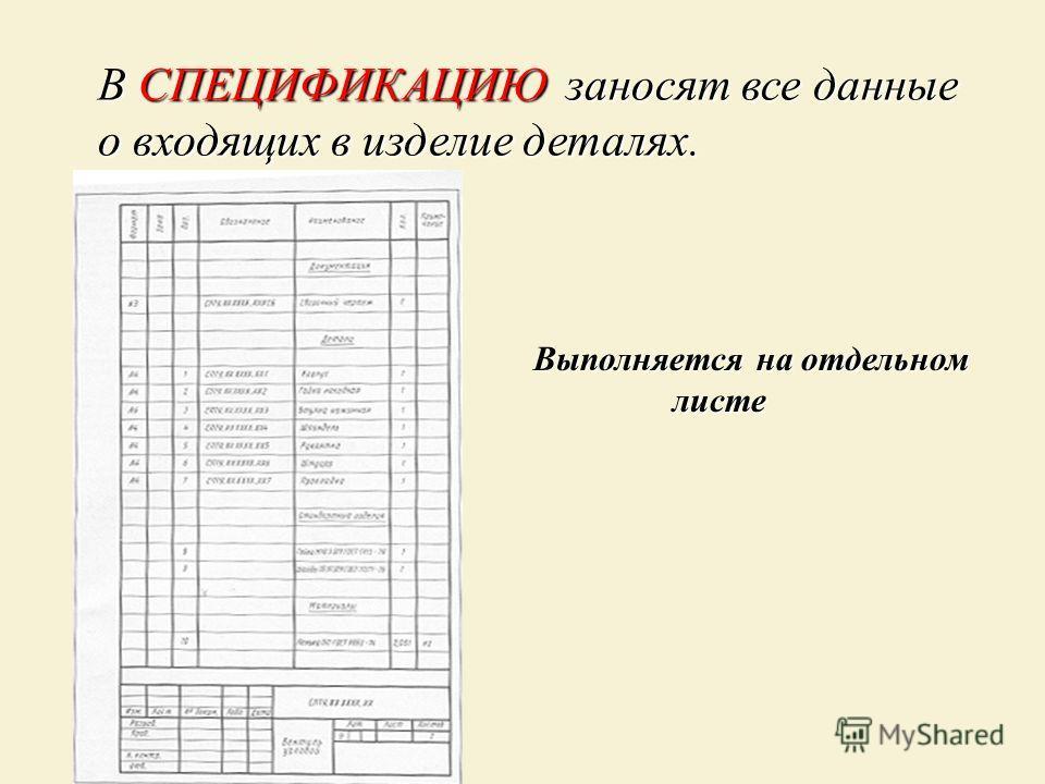 В СПЕЦИФИКАЦИЮ заносят все данные о входящих в изделие деталях. Выполняется на отдельном листе листе