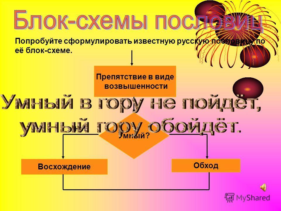 Попробуйте сформулировать известную русскую пословицу по её блок-схеме. Препятствие в виде возвышенности Умный? Восхождение Обход Да Нет