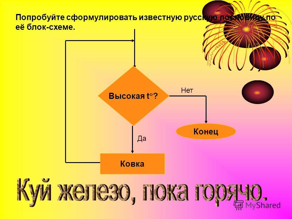 Попробуйте сформулировать известную русскую пословицу по её блок-схеме. Высокая t ? Конец Ковка Нет Да