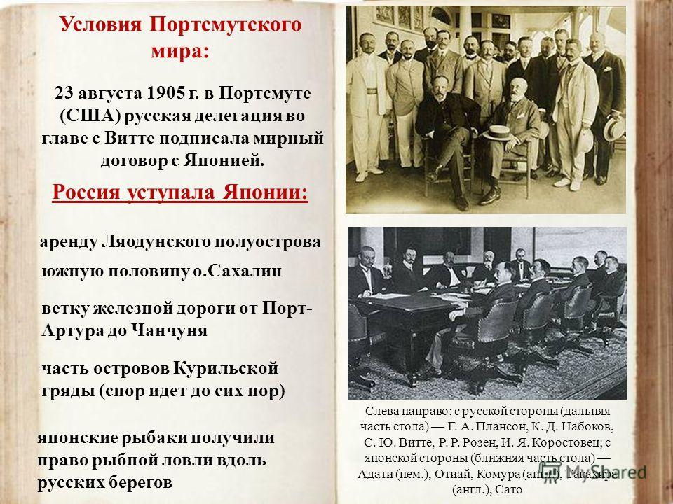 японские рыбаки получили право рыбной ловли вдоль русских берегов Условия Портсмутского мира: 23 августа 1905 г. в Портсмуте (США) русская делегация во главе с Витте подписала мирный договор с Японией. Россия уступала Японии: аренду Ляодунского полуо