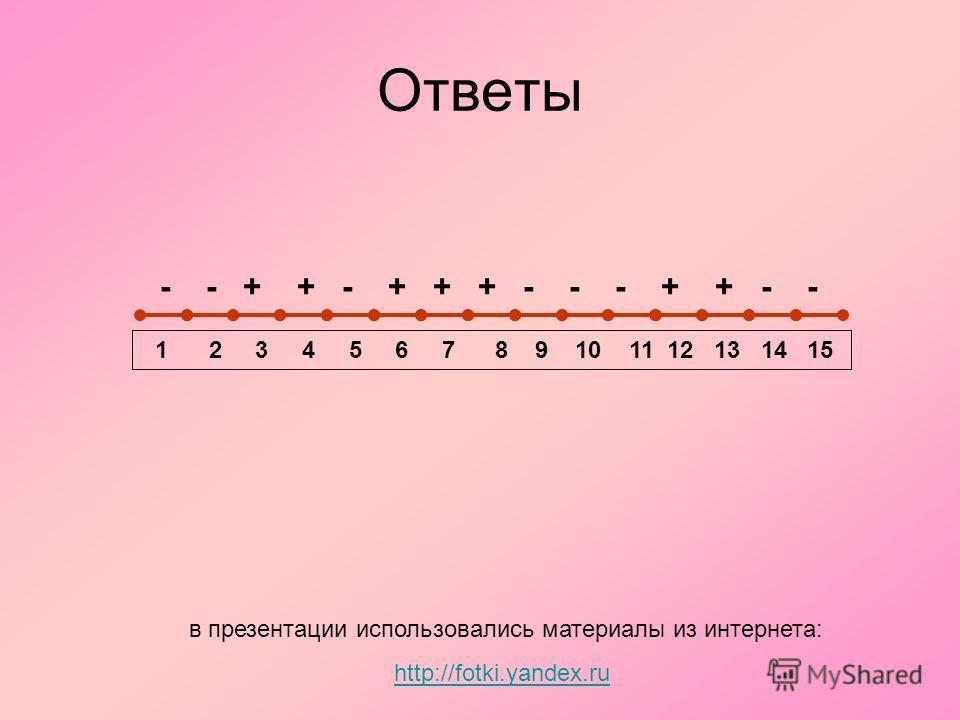 Ответы - - + + - + + + - - - + + - - 1 2 3 4 5 6 7 8 9 10 11 12 13 14 15 в презентации использовались материалы из интернета: http://fotki.yandex.ru