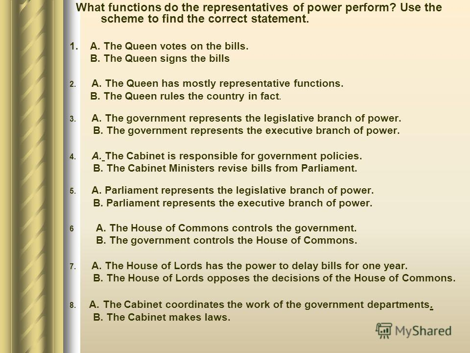 What functions do the representatives of power perform? Use the scheme to find the correct statement. 1. A. The Queen votes on the bills. B. The Queen signs the bills 2. A. The Queen has mostly representative functions. B. The Queen rules the country