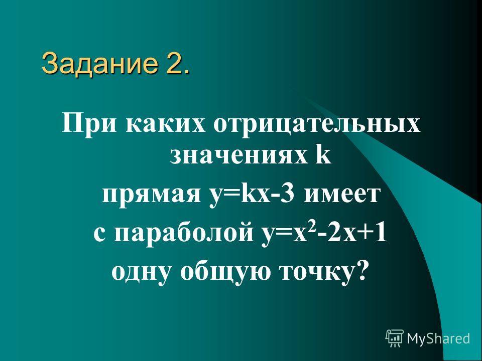 Задание 2. При каких отрицательных значениях k прямая y=kx-3 имеет с параболой y=x 2 -2x+1 одну общую точку?