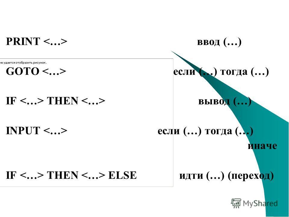 PRINT ввод (…) GOTO если (…) тогда (…) IF THEN вывод (…) INPUT если (…) тогда (…) иначе IF THEN ELSE идти (…) (переход)