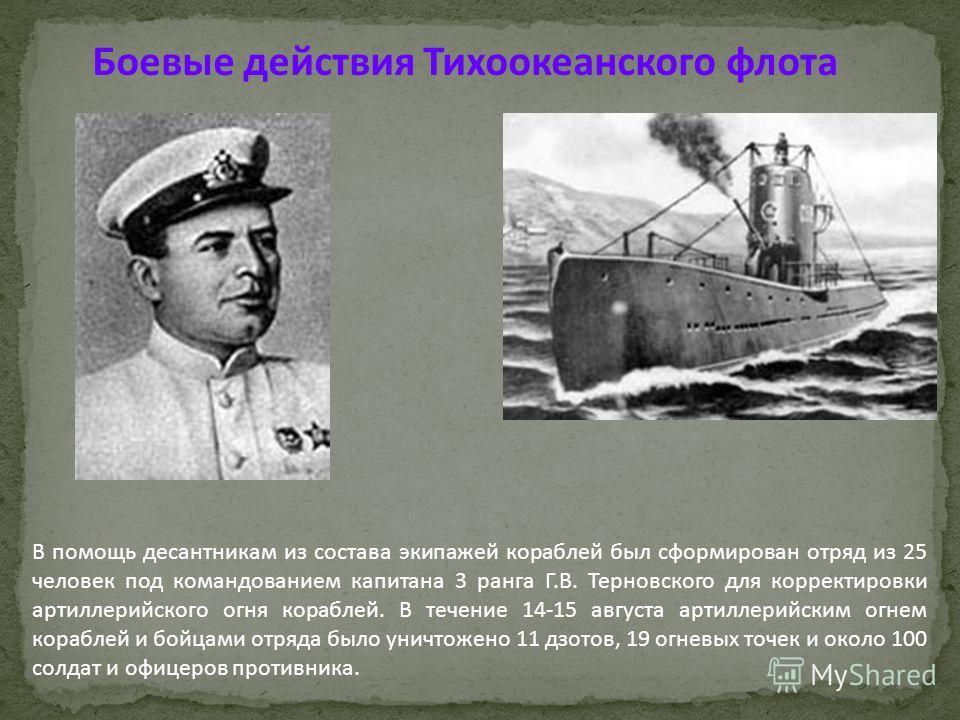 В помощь десантникам из состава экипажей кораблей был сформирован отряд из 25 человек под командованием капитана 3 ранга Г.В. Терновского для корректировки артиллерийского огня кораблей. В течение 14-15 августа артиллерийским огнем кораблей и бойцами