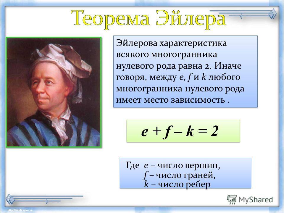 Где е – число вершин, f – число граней, k – число ребер Где е – число вершин, f – число граней, k – число ребер Эйлерова характеристика всякого многогранника нулевого рода равна 2. Иначе говоря, между e, f и k любого многогранника нулевого рода имеет