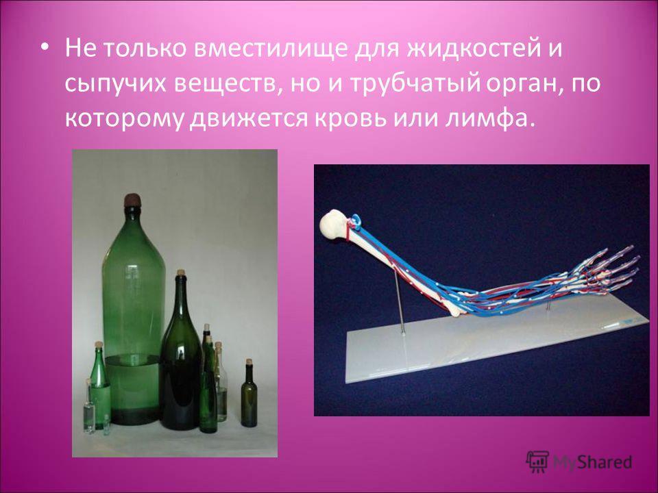 Не только вместилище для жидкостей и сыпучих веществ, но и трубчатый орган, по которому движется кровь или лимфа.