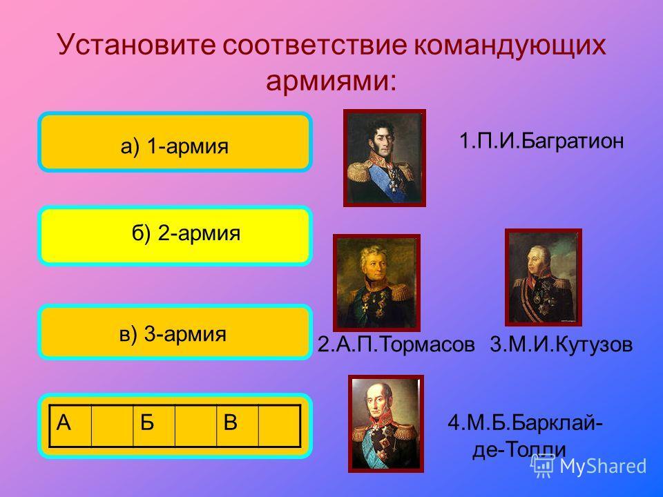 Установите соответствие командующих армиями: а) 1-армия б) 2-армия в) 3-армия 3.М.И.Кутузов 1.П.И.Багратион 4.М.Б.Барклай- де-Толли 2.А.П.Тормасов АБВ