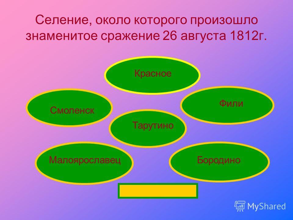 Селение, около которого произошло знаменитое сражение 26 августа 1812 г. Бородино Фили Красное Тарутино Малоярославец Смоленск