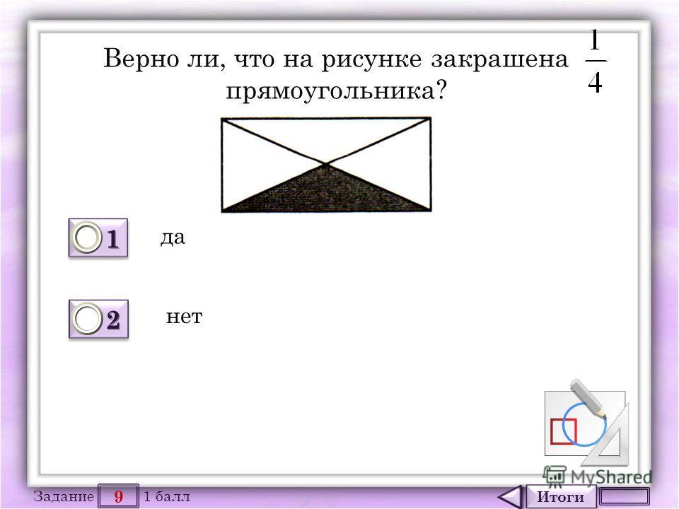 Итоги 9 Задание 1 балл 1111 1111 2222 2222 Верно ли, что на рисунке закрашена прямоугольника? да нет