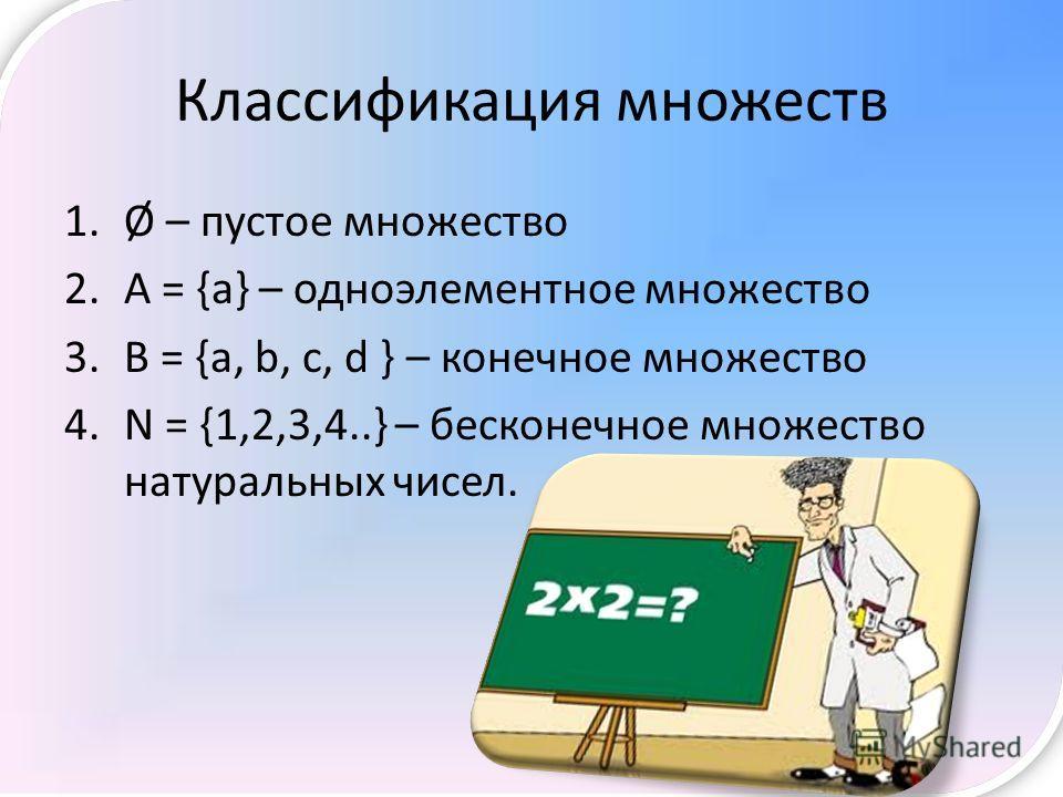 Классификация множеств 1.Ø – пустое множество 2. А = {а} – одноэлементное множество 3. В = {a, b, c, d } – конечное множество 4. N = {1,2,3,4..} – бесконечное множество натуральных чисел.
