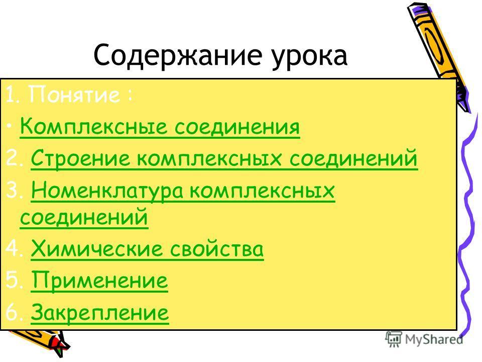 Содержание урока 1. Понятие : Комплексные соединения 2. Строение комплексных соединений Строение комплексных соединений 3. Номенклатура комплексных соединений Номенклатура комплексных соединений 4. Химические свойства Химические свойства 5. Применени