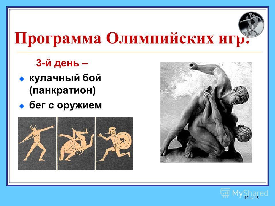 Программа Олимпийских игр: 3-й день – кулачный бой (панкратион) бег с оружием 10 из 18