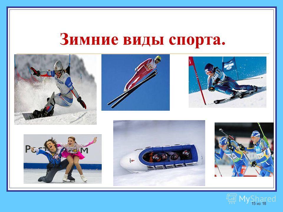 Зимние виды спорта. 15 из 18