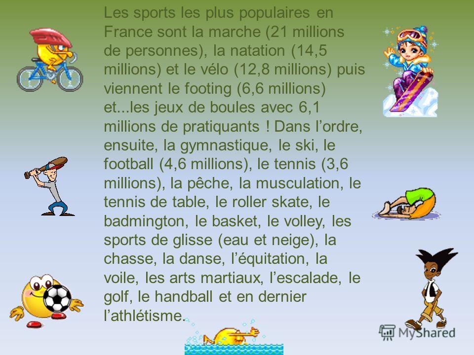 Les sports les plus populaires en France sont la marche (21 millions de personnes), la natation (14,5 millions) et le vélo (12,8 millions) puis viennent le footing (6,6 millions) et...les jeux de boules avec 6,1 millions de pratiquants ! Dans lordre,