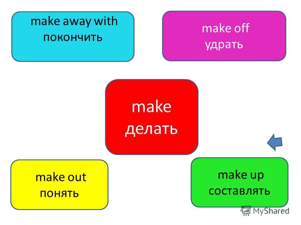 make делать make out понять make away with покончить make off удрать make up составлять