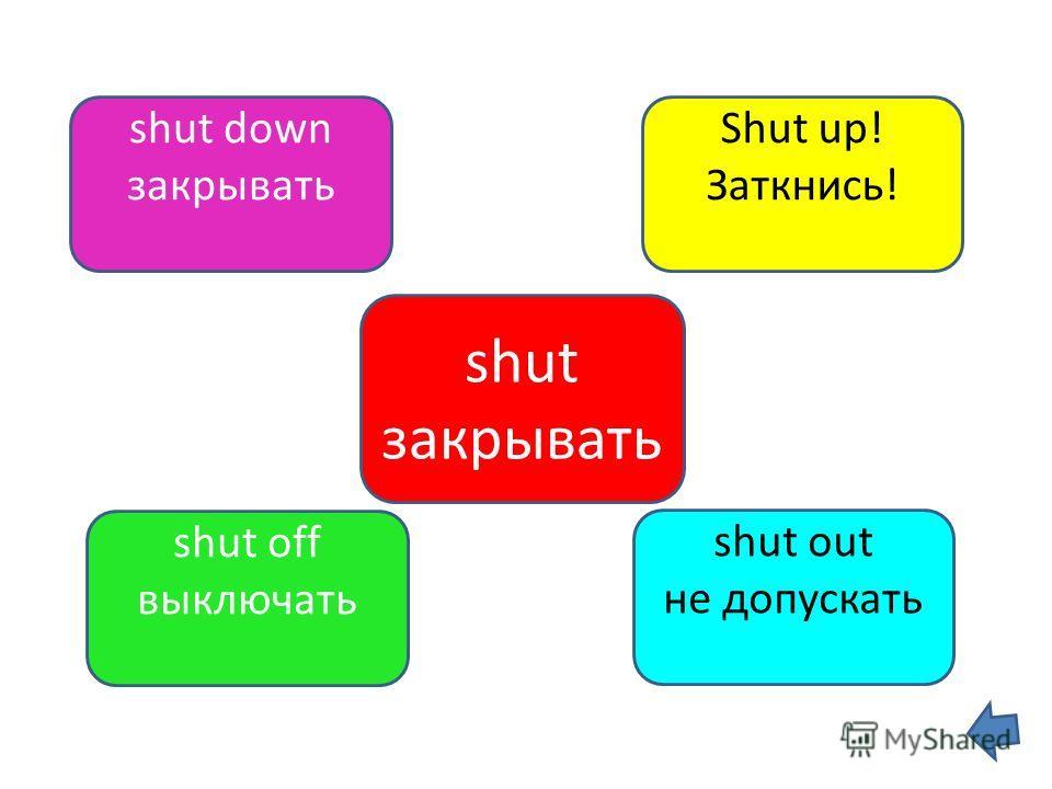 shut закрывать shut down закрывать Shut up! Заткнись! shut off выключать shut out не допускать