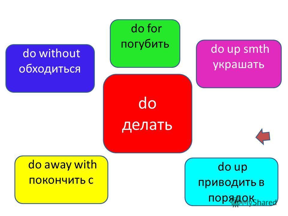 do делать do up приводить в порядок do without обходиться do up smth украшать do away with покончить с do for погубить