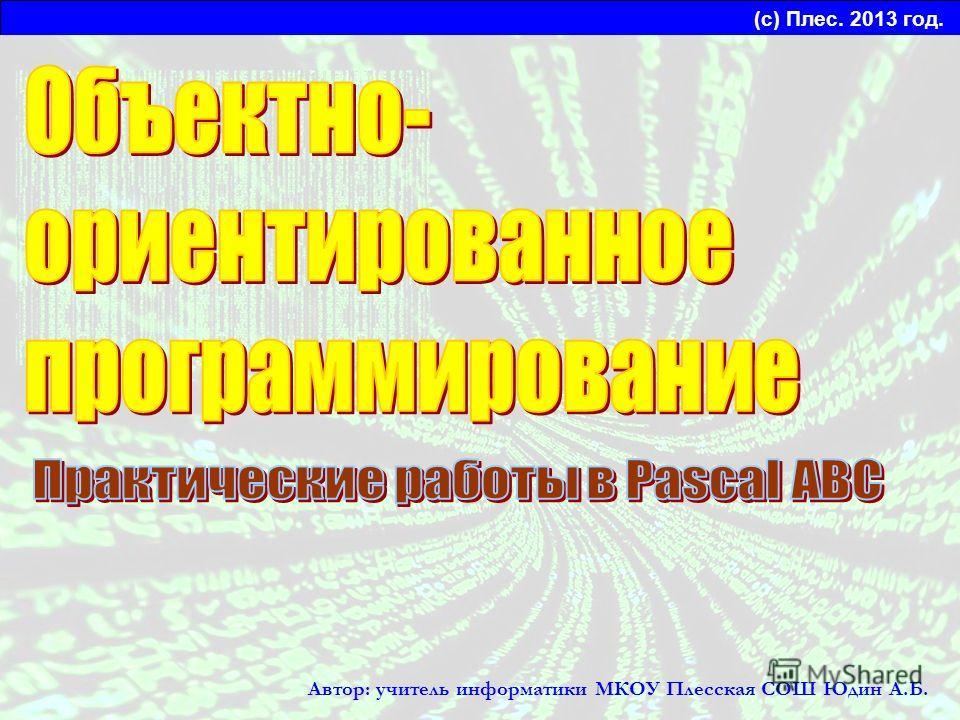 (с) Плес. 2013 год. Автор: учитель информатики МКОУ Плесская СОШ Юдин А.Б.