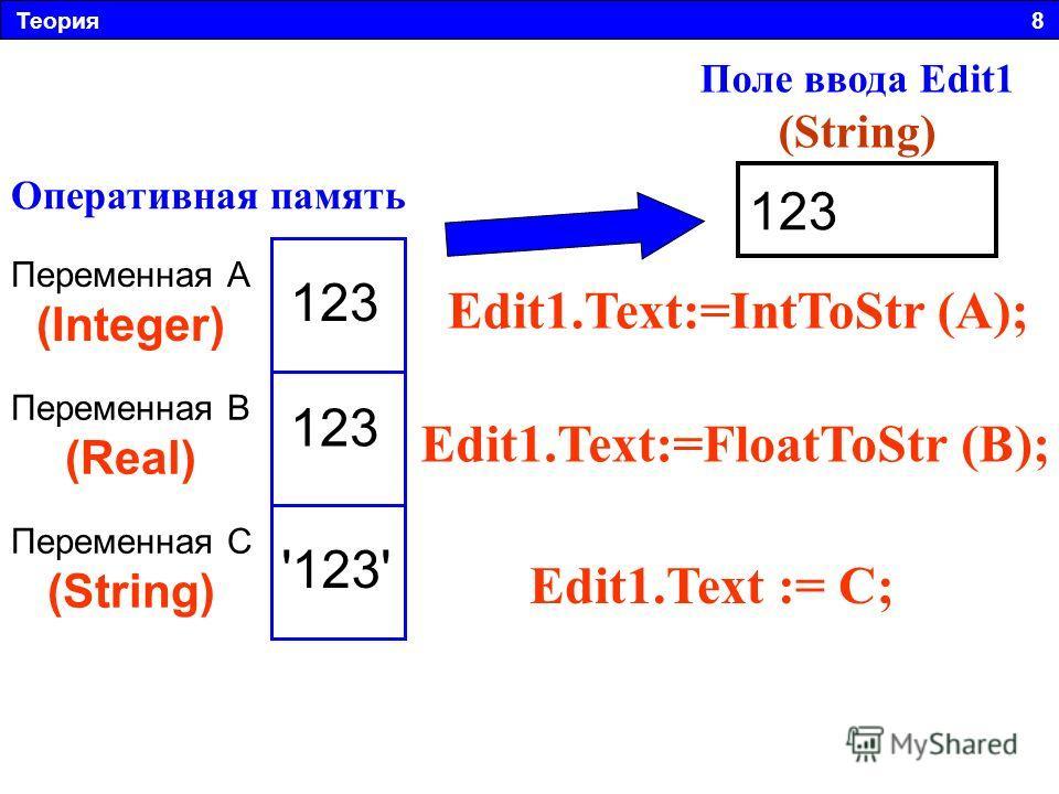 Теория 8 123 Оперативная память Переменная А (Integer) Переменная B (Real) Переменная C (String) Edit1.Text:=IntToStr (А); Edit1.Text:=FloatToStr (B); Edit1. Text := C; 123 '123' Поле ввода Edit1 (String)