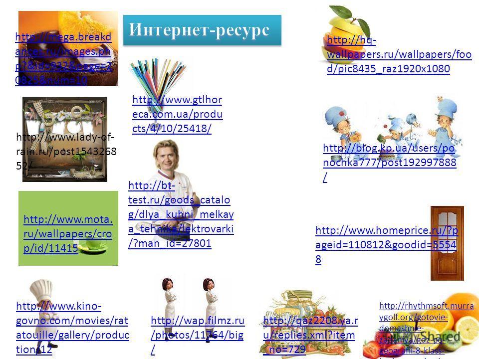Интернет-ресурс http://www.menuma te.com.au/platform- one-bakery-cafe http://live4fun.ru/la st/joke/145604/galle ry http://www.alshar.ru /kollektsiya/kuhnya/ Page-215. html http://tatdelo.ru/proda zha_biznesa/hot- dog_na_central_nom_r ynke_s_mestom/