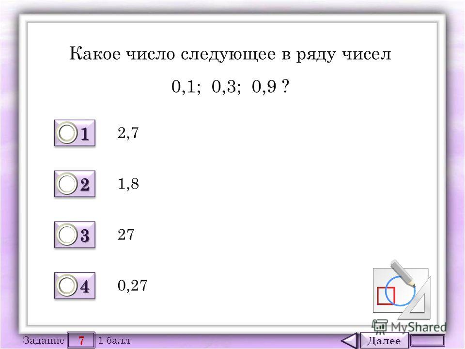Далее 7 Задание 1 балл 1111 1111 2222 2222 3333 3333 4444 4444 Какое число следующее в ряду чисел 0,1; 0,3; 0,9 ? 2,7 27 1,8 0,27
