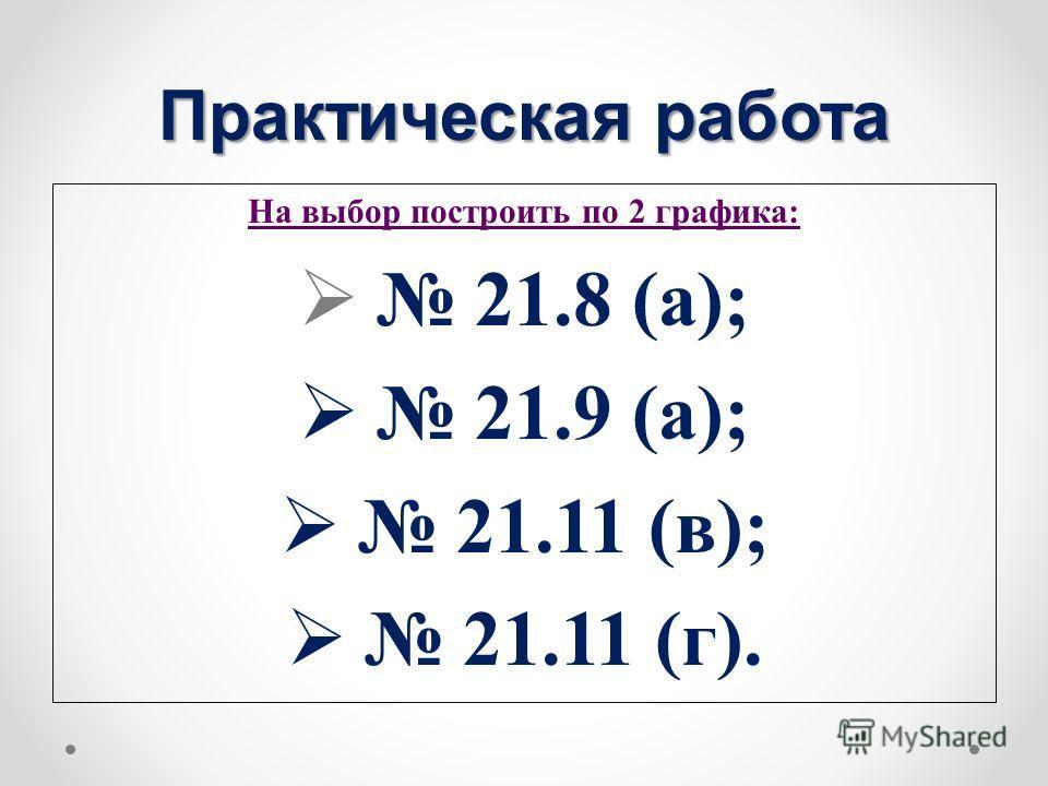 Практическая работа На выбор построить по 2 графика: 21.8 (а); 21.9 (а); 21.11 (в); 21.11 (г).