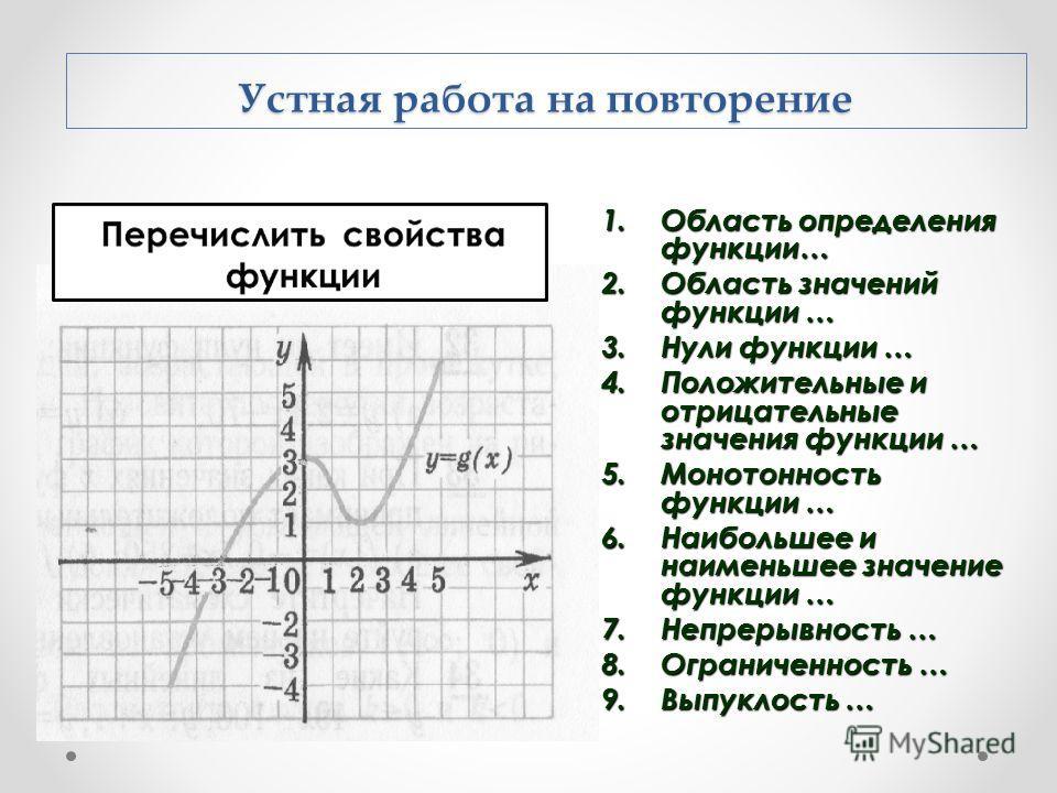 1. Область определения функции… 2. Область значений функции … 3. Нули функции … 4. Положительные и отрицательные значения функции … 5. Монотонность функции … 6. Наибольшее и наименьшее значение функции … 7. Непрерывность … 8. Ограниченность … 9. Выпу