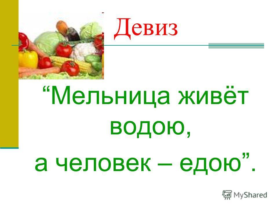 Девиз Мельница живёт водою, а человек – едою.