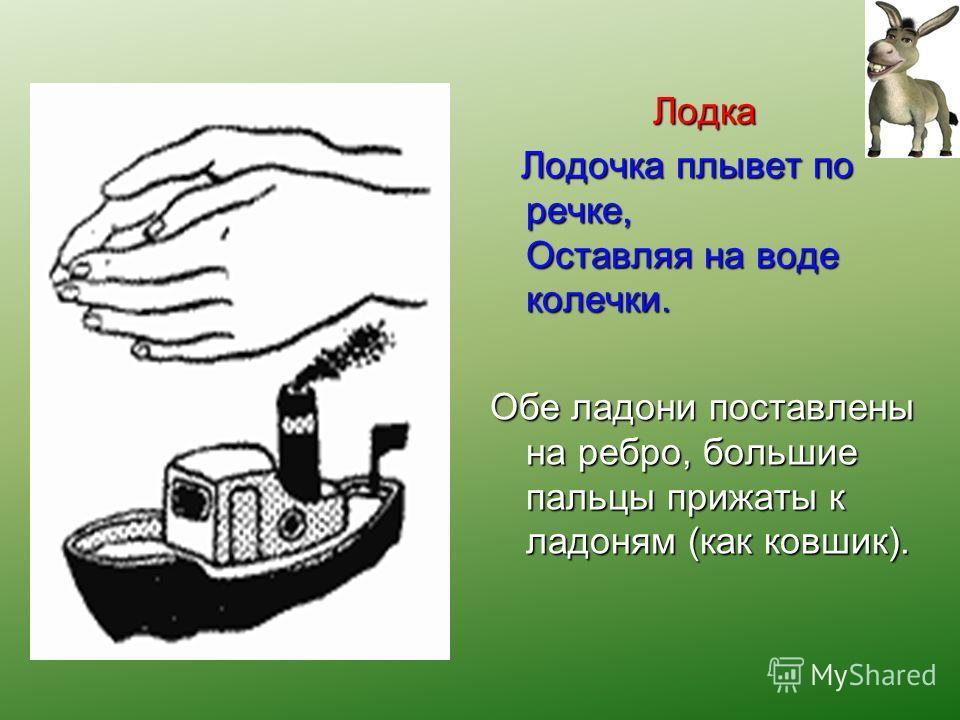 Лодка Лодочка плывет по речке, Оставляя на воде колечки. Лодочка плывет по речке, Оставляя на воде колечки. Обе ладони поставлены на ребро, большие пальцы прижаты к ладоням (как ковшик).