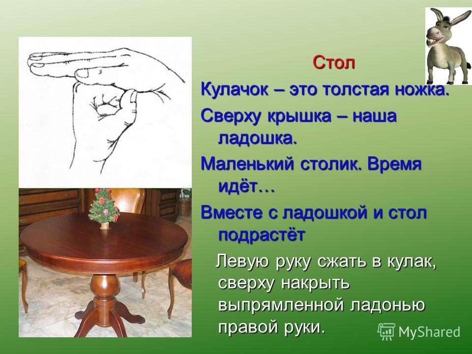 Стол Кулачок – это толстая ножка. Сверху крышка – наша ладошка. Маленький столик. Время идёт… Вместе с ладошкой и стол подрастёт Левую руку сжать в кулак, сверху накрыть выпрямленной ладонью правой руки. Левую руку сжать в кулак, сверху накрыть выпря