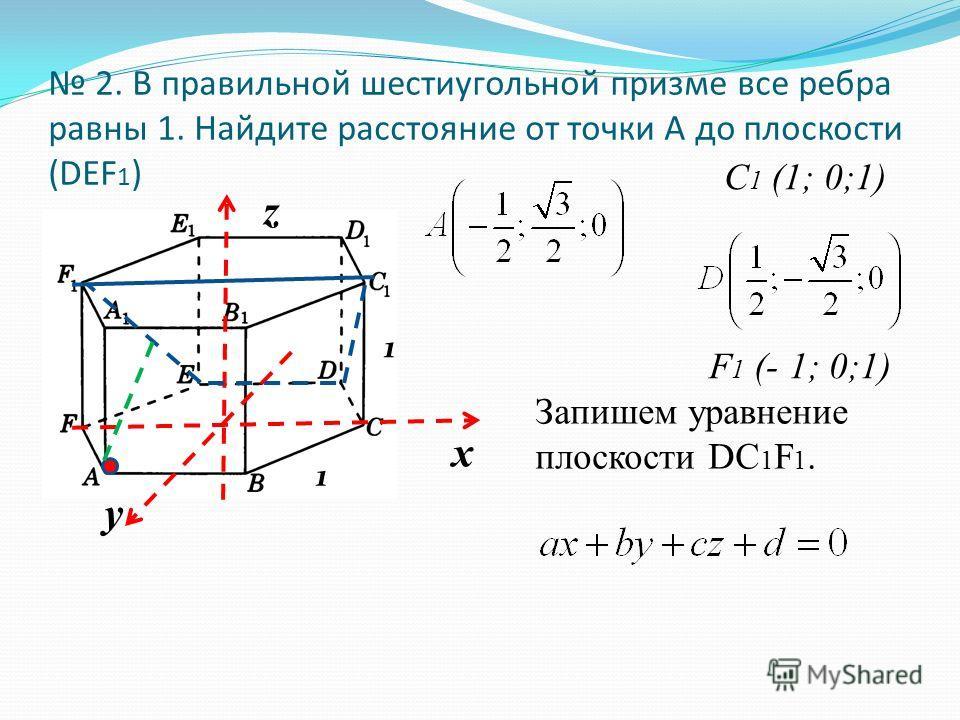 х у z 2. В правильной шестиугольной призме все ребра равны 1. Найдите расстояние от точки А до плоскости (DEF 1 ) F 1 (- 1; 0;1) Запишем уравнение плоскости DC 1 F 1. C 1 (1; 0;1) 1 1