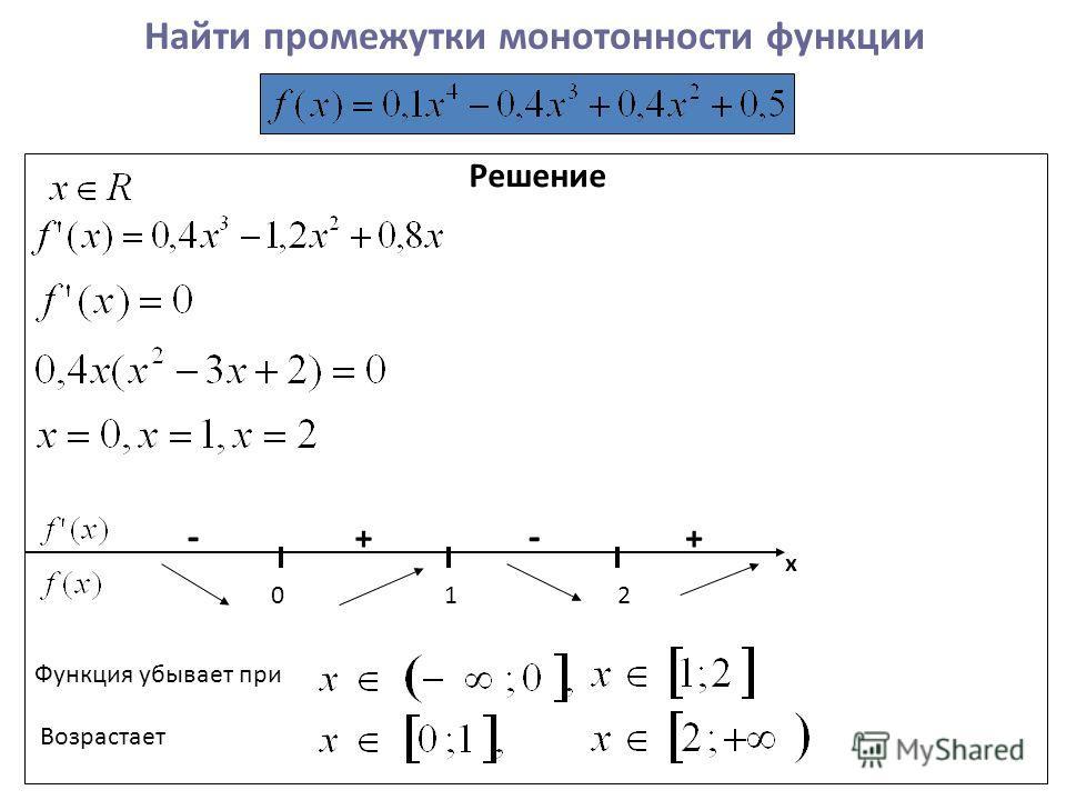 Найти промежутки монотонности функции Решение х ++ -- 012 Функция убывает при Возрастает