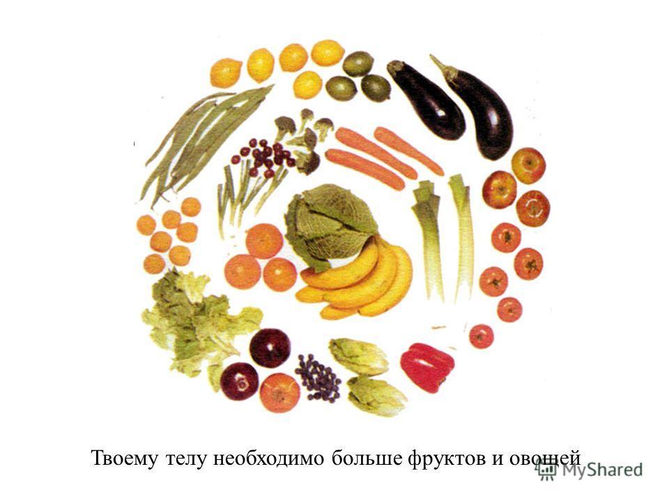 Чтобы твое тело работало, его нужно поить и кормить здоровой пищей. Я ем много полезной пищи!