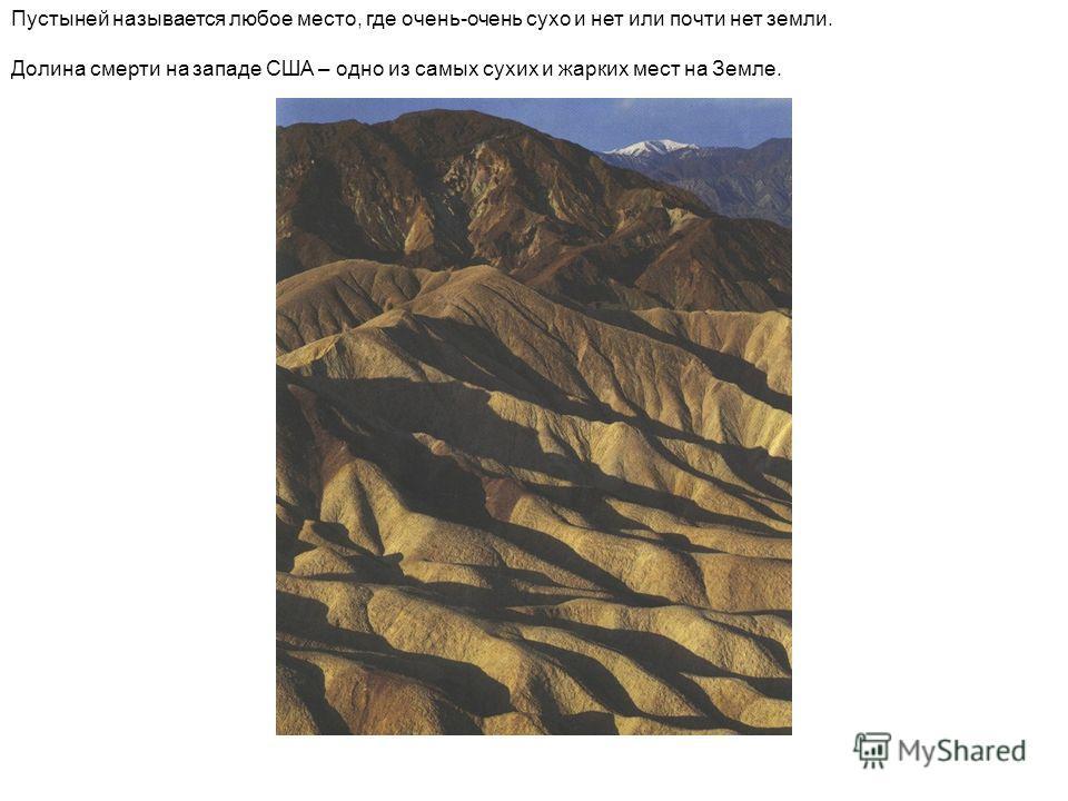 Пустыней называется любое место, где очень-очень сухо и нет или почти нет земли. Долина смерти на западе США – одно из самых сухих и жарких мест на Земле.