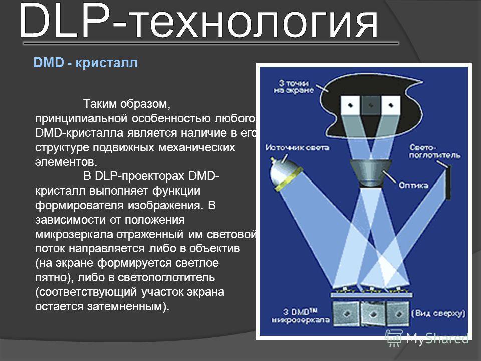 Таким образом, принципиальной особенностью любого DMD-кристалла является наличие в его структуре подвижных механических элементов. В DLP-проекторах DMD- кристалл выполняет функции формирователя изображения. В зависимости от положения микро зеркала от