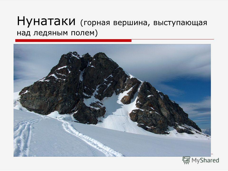 Нунатаки (горная вершина, выступающая над ледяным полем)