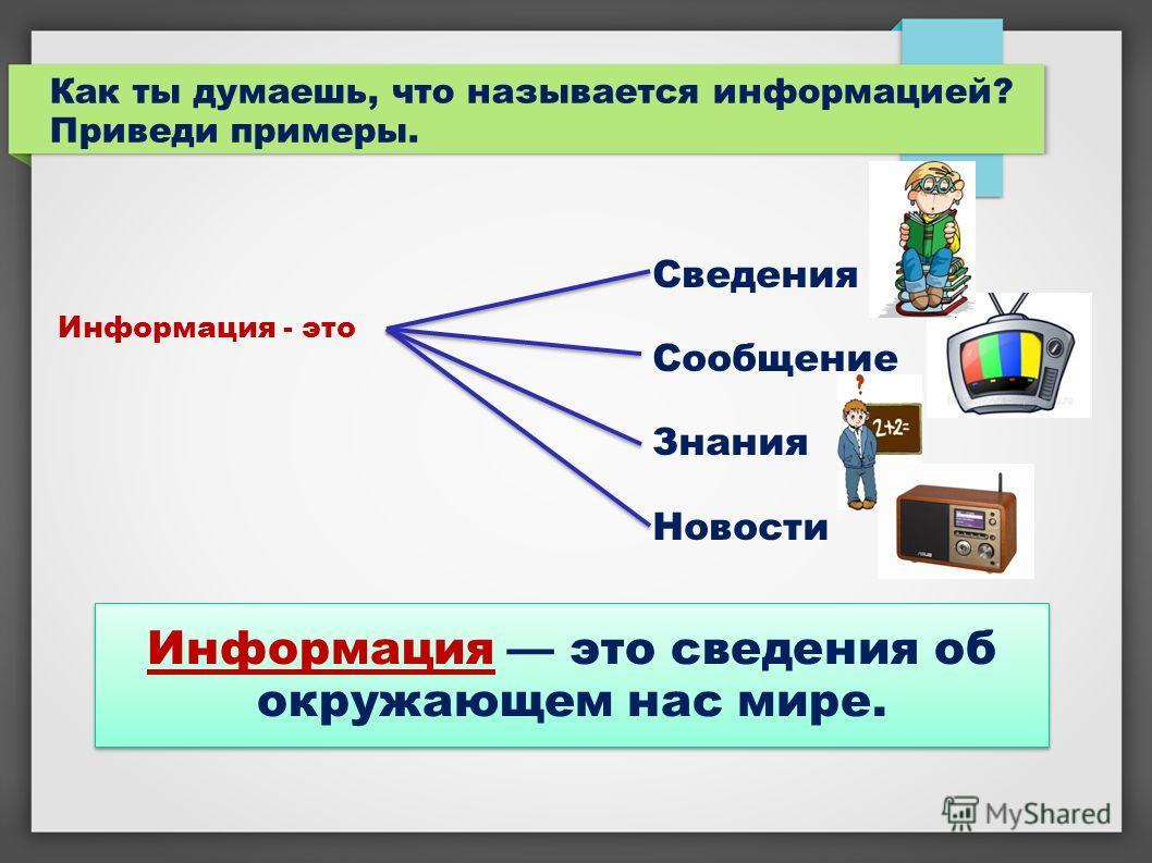 Как ты думаешь, что называется информацией? Приведи примеры. Информация - это Сведения Сообщение Знания Новости Информация это сведения об окружающем нас мире.