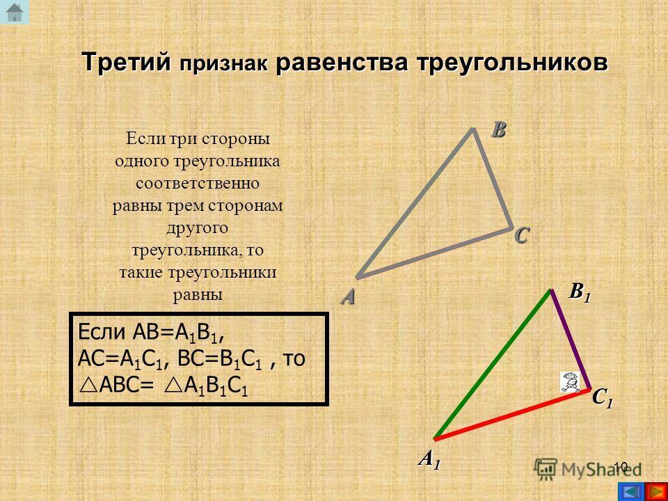 9 Если сторона и два прилежащих к ней угла одного треугольника соответственно равны стороне и двум прилежащим к ней углам другого треугольника, то такие треугольники равны Если AB=A 1 B 1, A= A 1, B= B 1, то ABC= A 1 B 1 C 1 Второй признак равенства