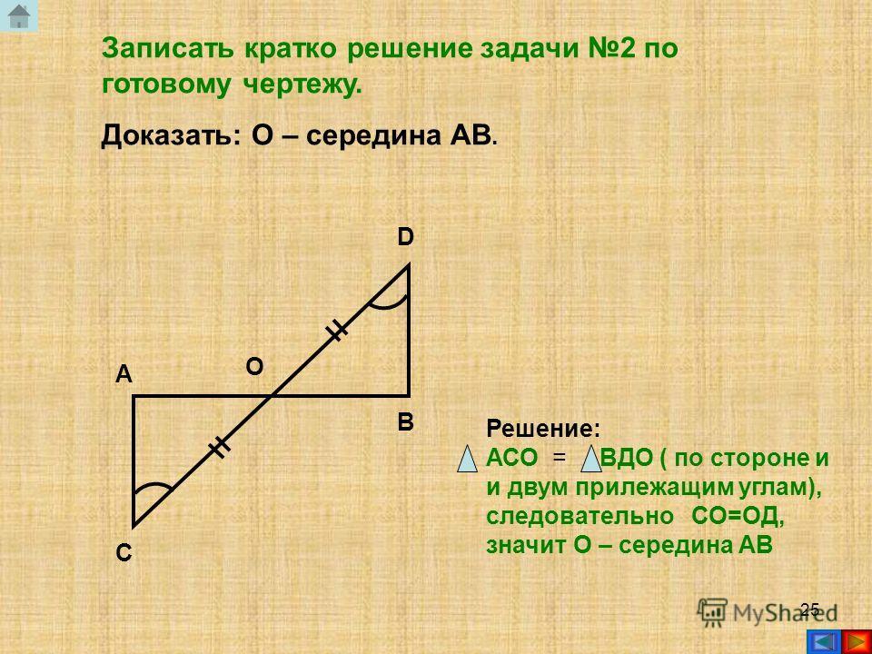 24 Записать кратко решение задачи 1 по готовому чертежу. Доказать: DB – биссектриса ADC. 1 2 A B C D Решение: АВД = СВД ( по двум сторонам и углу между ними), следовательно АДС = СДВ, значит ДВ биссектриса АДС